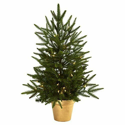 Nearly Natural 2.5' Christmas Tree With Golden Planter & Clear Lights | eBay - Nearly Natural 2.5' Christmas Tree With Golden Planter & Clear