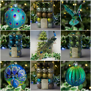 image is loading peacock gisela graham christmas decorations baubles bauble shatterproof - Peacock Christmas Decorations