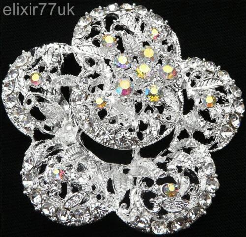 """Nuevo 2 /""""Flor de Plata Broche Diamante Cristal Boda nupcial Prom fiesta abordar Reino Unido"""