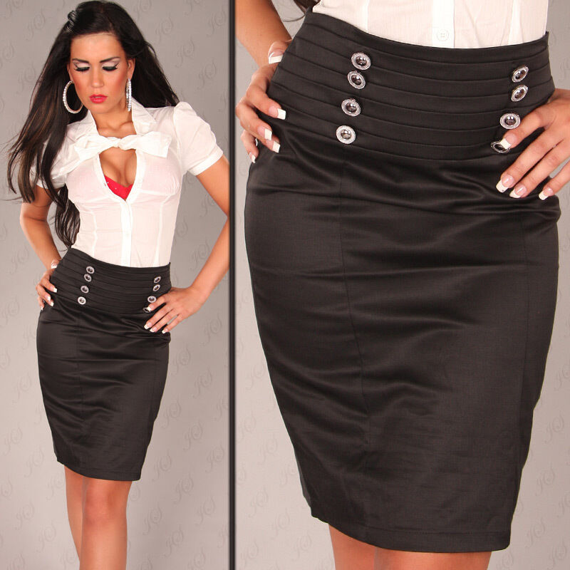 NEW SEXY LADIES PENCIL SKIRT +BUTTONS 8 10 COTTON BLEND OFFICE PARTY WORK CASUAL