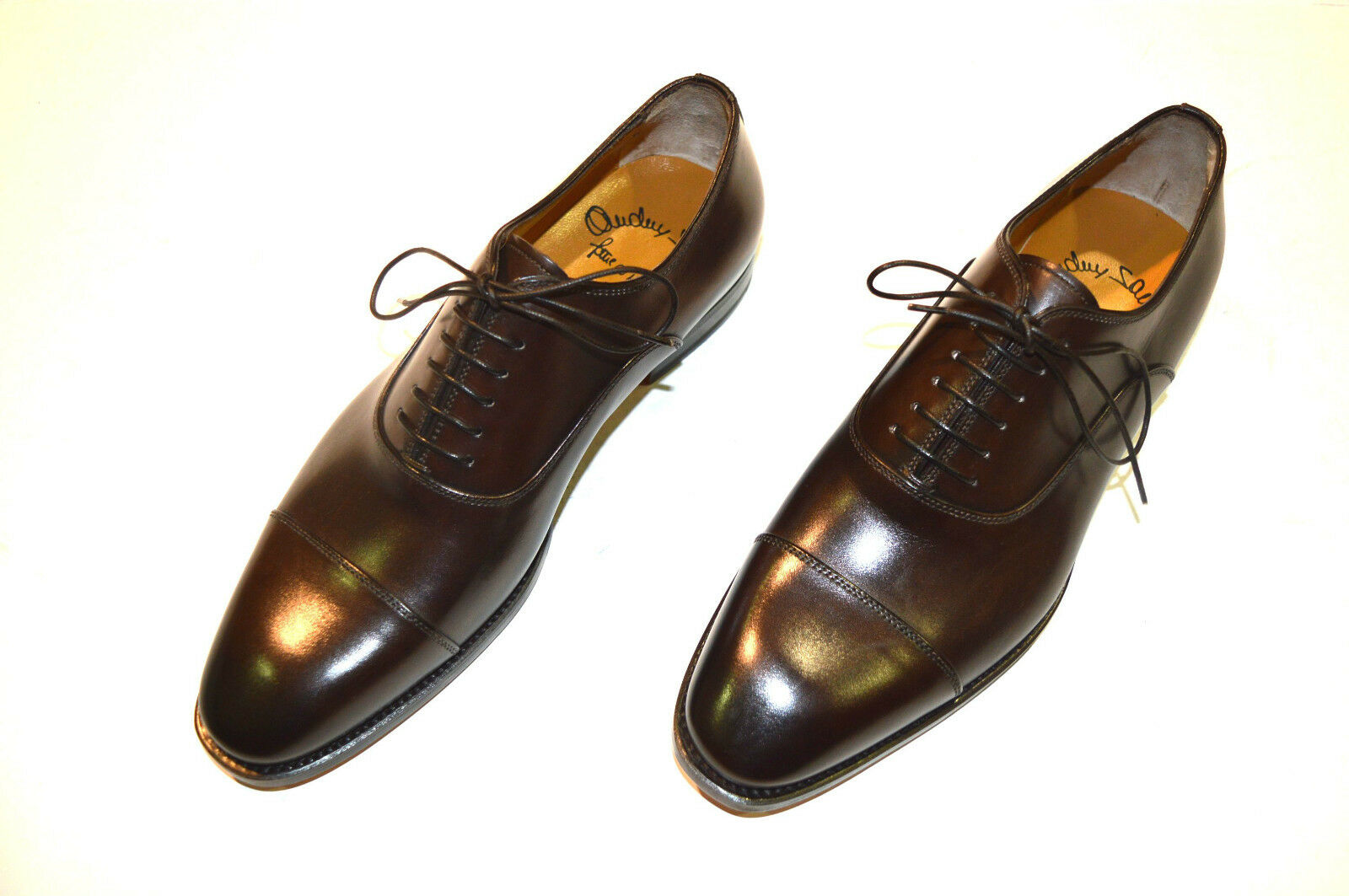 NEW SANTONI Dress Brown Leather shoes  SIZE Eu 44.5 Uk 10.5 Us 11.5 (5R)