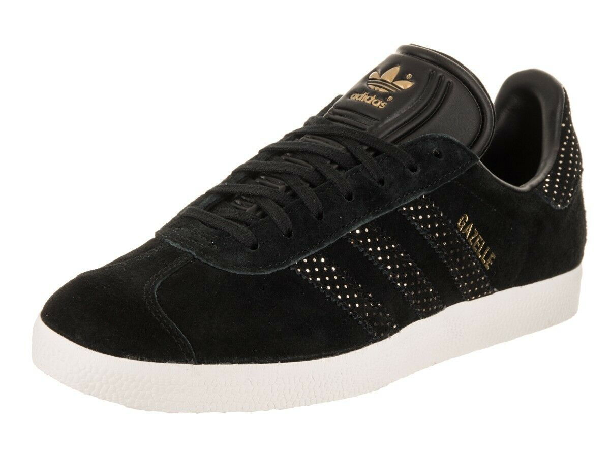 ADIDAS GAZELLE ORIGINALS WOMEN's CASUAL US SIZE 6.5 BLACK - gold - WHITE NEW