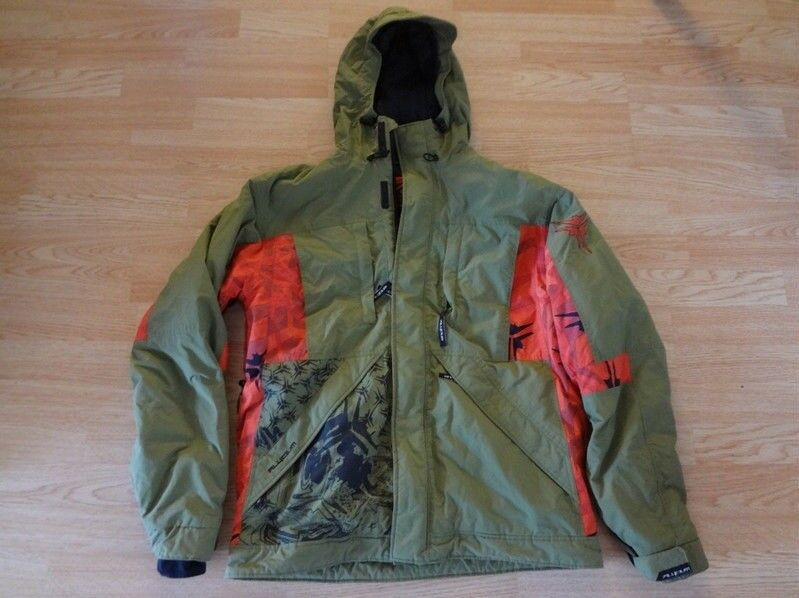 Men's Alycium L Winter Board Coat Olive Green & Red