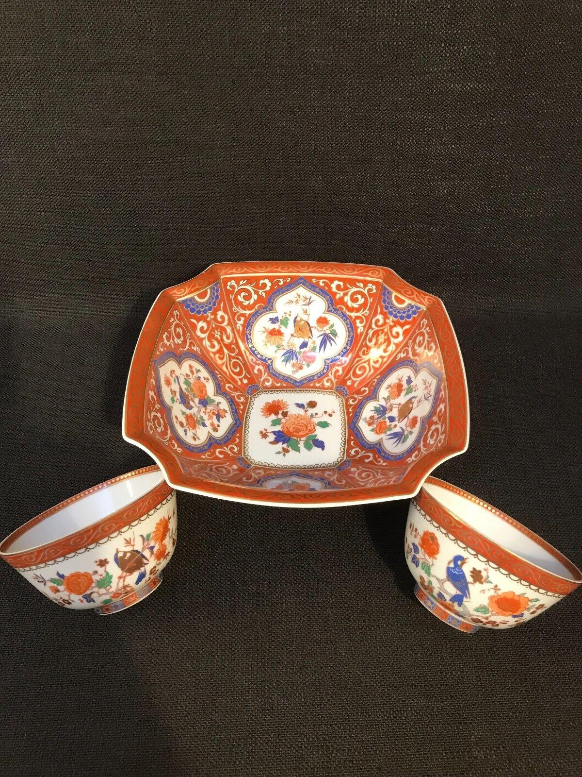 Vintage KAISER  MING  Deep Square Bowl & deux tea bowls