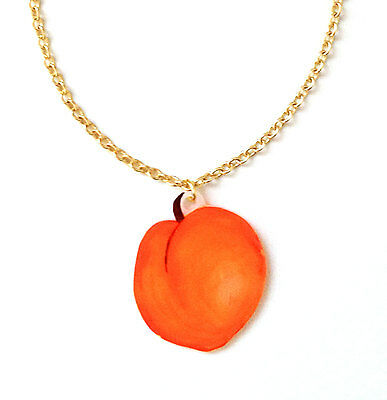 Peach Fruit Necklace - Handmade Pendant, Juicy, British, Orange, Tree, Woodland