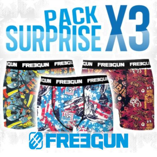 L Tailles dispo : S FREEGUN XL PACK Surpprise 3 BOXERS