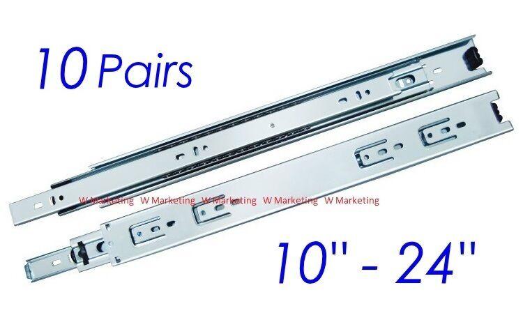 10 Pairs Full Extension 100-lb Ball Bearing Drawer Slides 10 -24  SL02