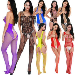891d87cc66b Image is loading Women-Lingerie-Hollow-Out-Crotchless-Fishnet-Suspender- Bodystocking-