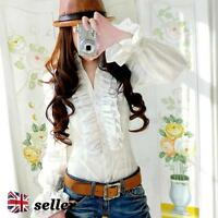 Womens Ladies Blouses Tops Lace Shirt Blouse High Neck Victorian Vintage Shirts
