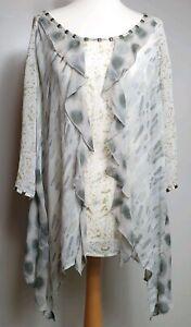 MINT-VELVET-UK-Size-16-Tunic-Sheer-Top-100-Silk-Ruffle-Waterfall-Design