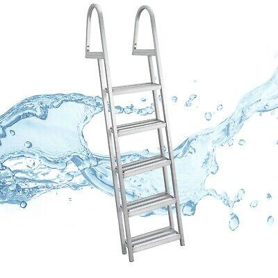 Pontoon Dock LadderHeavy Duty Aluminum 5 StepRemovable Boarding Ladder