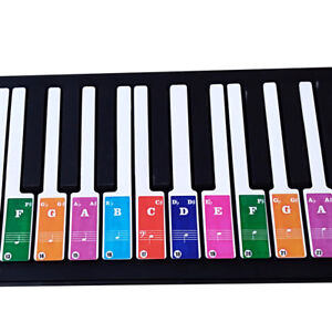 Colorful-Piano-Stickers-Key-Keyboards-Transparent-Removable-For-49-37-61-88
