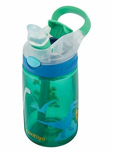 Contigo enfants Bouteille d/'eau Gizmo Flip Jungle Vert Dino Autospout avec paille NEUF