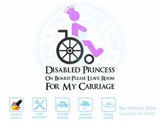Disabled Princess on board car van vinyl sticker decal