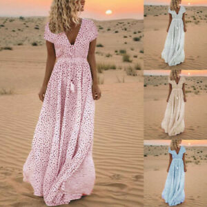 Women-Summer-Short-Sleeve-Dress-Print-Tassels-V-Neck-Long-Dress-Beach-Maxi-Dress