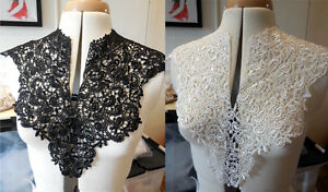 Black-or-white-bridal-floral-lace-collar-applique-V-shape-neckline-collar-motif
