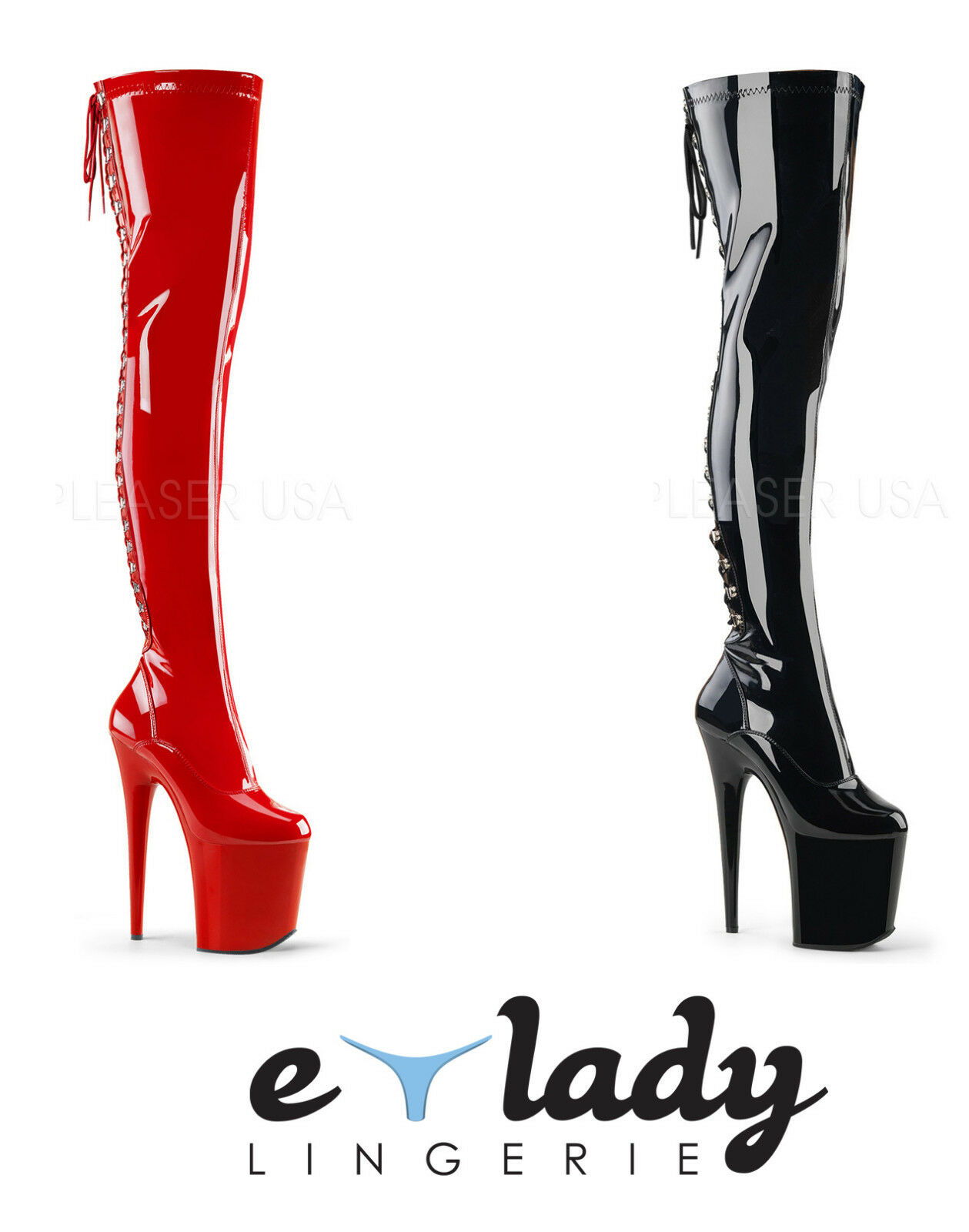 Pleaser Flamingo-3063 Thigh High Over Knee Boots Black Red Platform High Heels