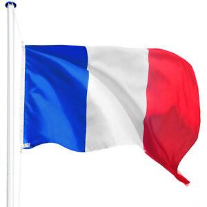 Mât de drapeau en aluminium alu 625 cm drapeau de l'France inclus kit jardin