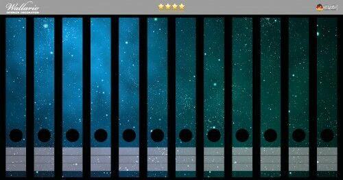 Sternenhimmel Wallario Ordnerrücken selbstklebend 12 schmale Ordner