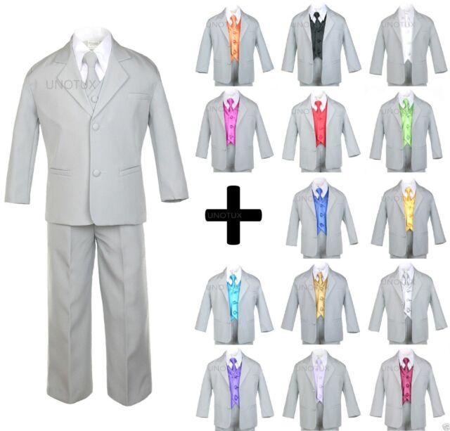 5pc Formal Wedding Boys Dark Gray Vest Necktie Sets Suits Baby to Teen 4T