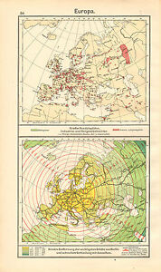 1908 Map Europe Areasof Trade Industry Mining Etc Distances