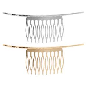 2x Blank Metal Hair Clip Comb 10-Teeth DIY Wedding Bridal Hairstyle Accessories