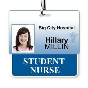 STUDENT NURSE Horizontal Badge Buddy with Blue Border - for Nursing Students ID