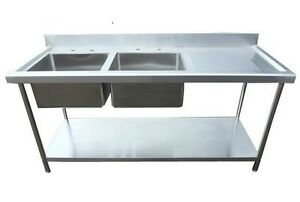 Industrial Sink Uk : Stainless-Steel-catering-sink-Commercial-Double-bowl-1800mm-Right-hand ...