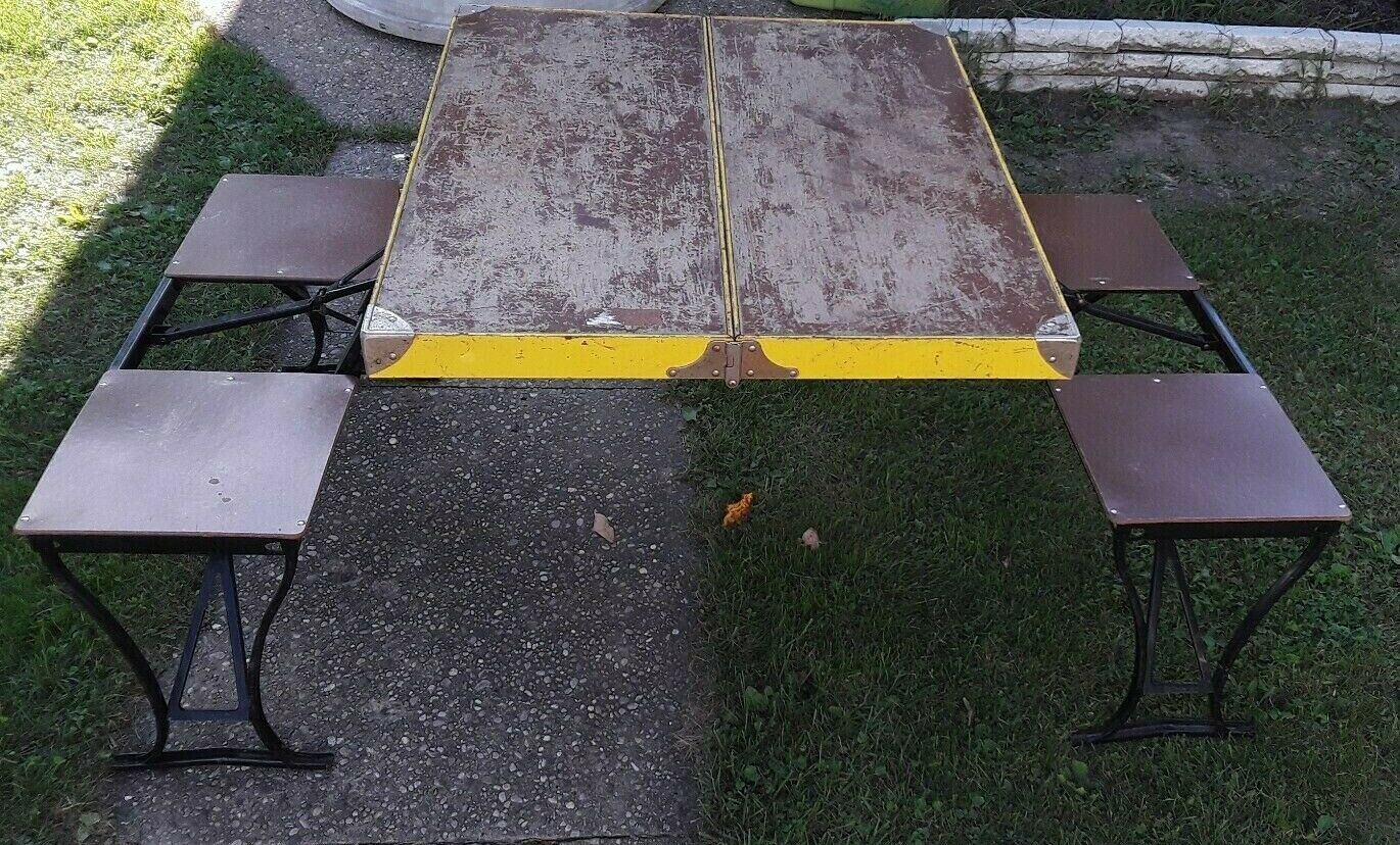 "Vintage ""The Handy Table"" folding picnic table: Milwaukee Metal Stamping."