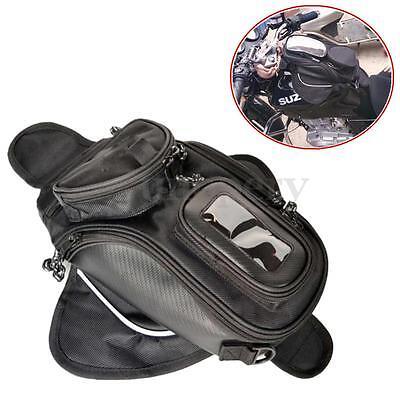 Motorcycle Magnetic Tank Bag - Motorbike Pannier Bag w/ GPS/Mobile Pocket Black