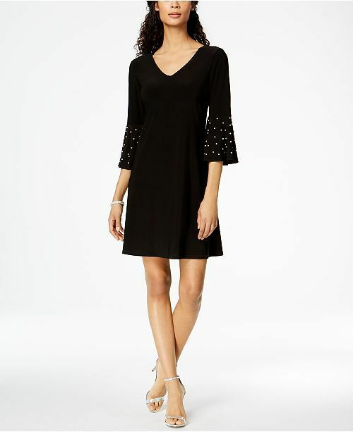 67b4f31d05 MSK Women s Black Embellished Bell-sleeve Sheath Dress Size L for sale  online