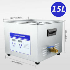 15l Ultrasonic Cleaner Commercial Heated With Digital Timer For Jewelry New