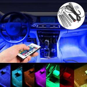 glow full color led interior car lamp kit under dash foot seat inside lighting ebay. Black Bedroom Furniture Sets. Home Design Ideas