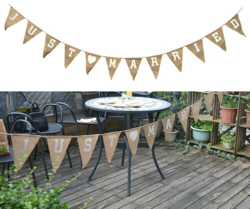 Just Married Wedding Photo Prop Bunting Hessian Fabric Vintage Flag 1.5m