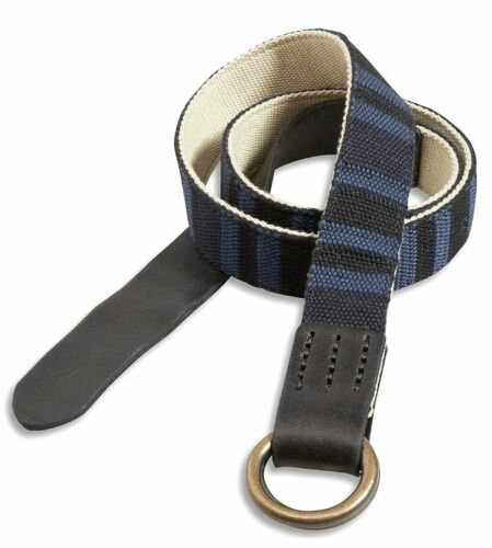 Men/'s 38 Lucky Brand $39 Reversible Stone//Blue Striped Fabric /& Leather Belt
