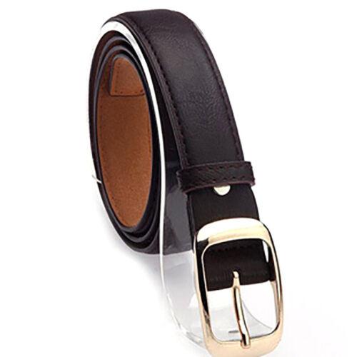 Womens Leather Buckle Waist Belts Ladies Jeans Dress Elastic Waistband Skinny