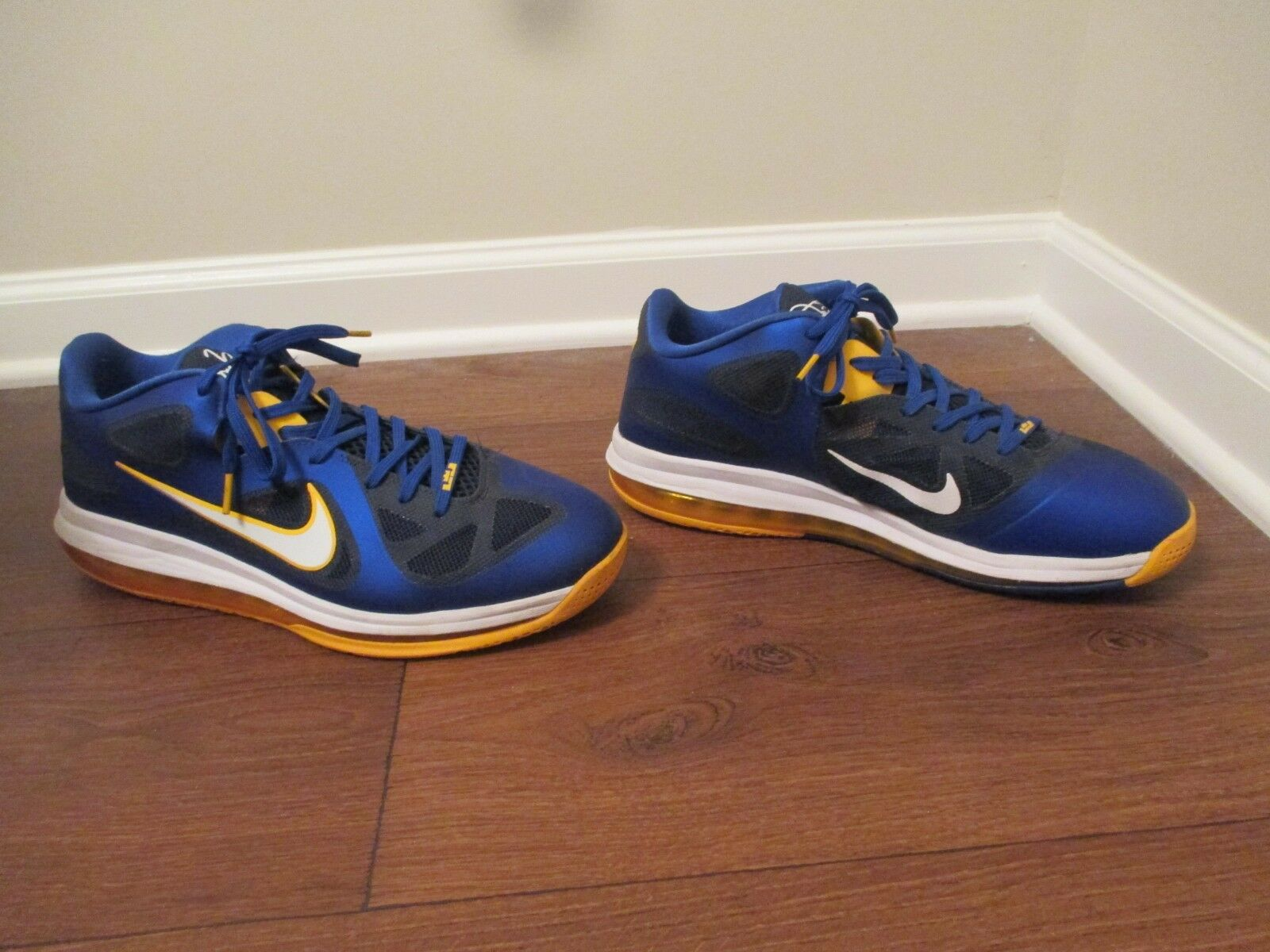 Used Worn Size 13 Nike LeBron IX Navy 9 Low Entourage Shoes Royal Gold Navy IX White af21d8