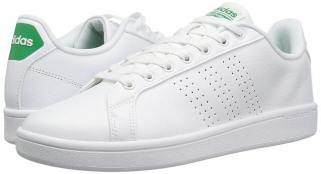 adidas Neo Mens 13 Cloudfoam Advantage Clean White Green SNEAKERS Shoes AW3914