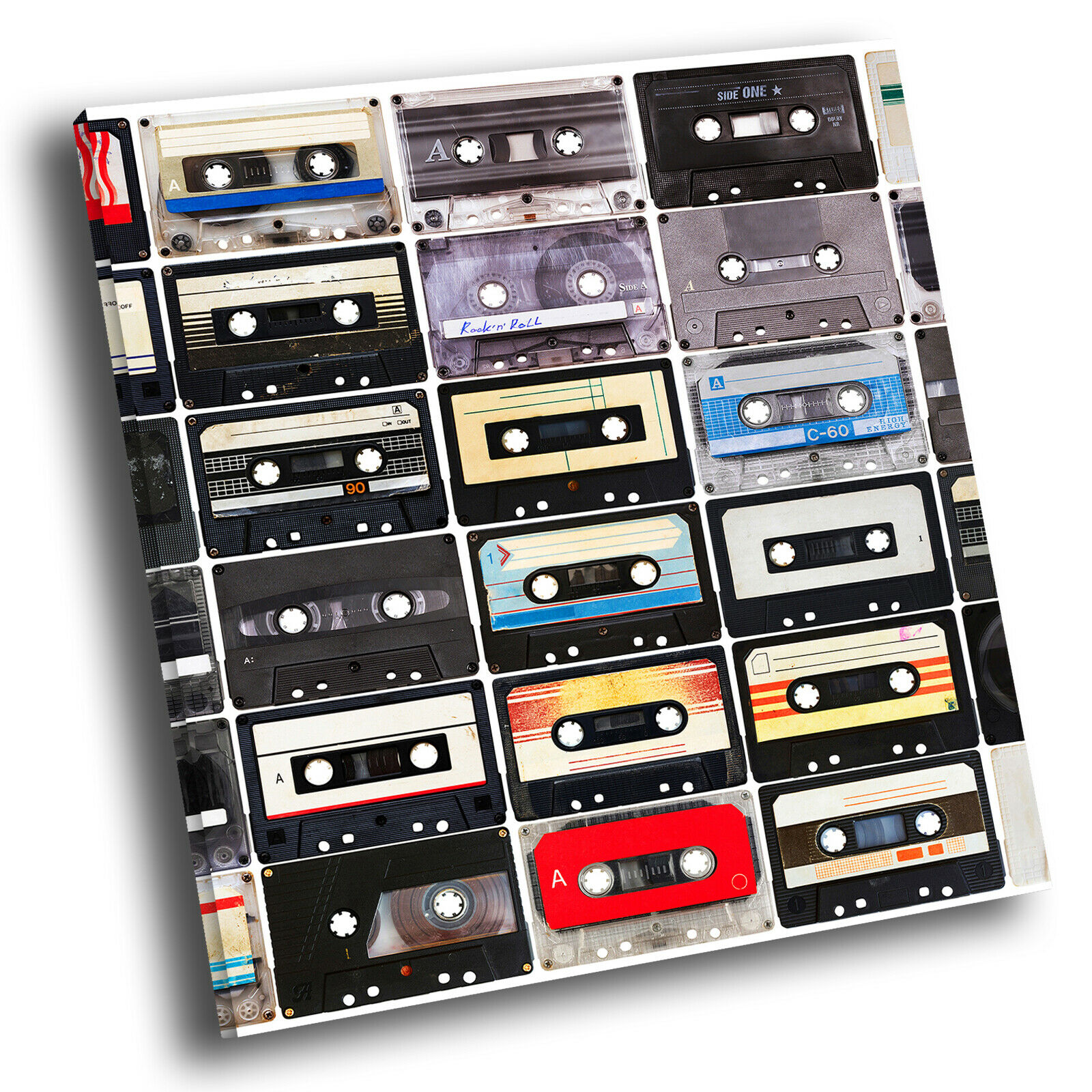 Retro Cassette Cool Square Abstract Photo Canvas Wall Art Large Picture Prints