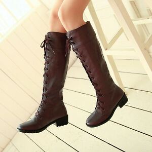 2019-Womens-Low-Heels-Military-Riding-Boots-Roman-Lace-Up-Knee-High-Boots-K