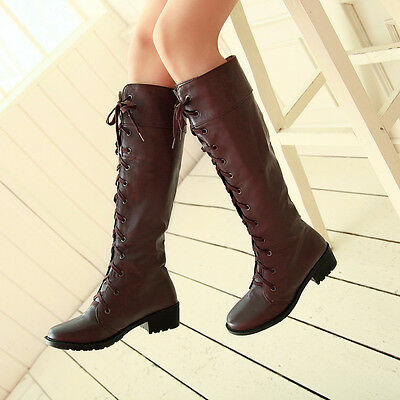 Fashion Womens Low Heels Military Riding Boots Roman Lace Up Knee High Boots