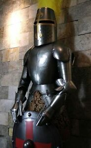 Medieval-Knight-Crusader-in-Suit-of-Armor-6-5-039-H-with-shield