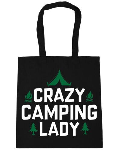 10 litres Crazy camping lady Tote Shopping Gym Beach Bag 42cm x38cm