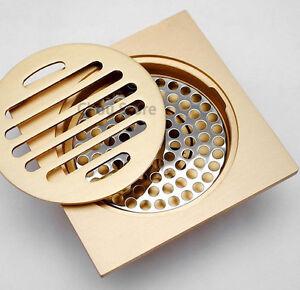 Modern-4-034-Bathroom-Golden-Brass-Shower-Floor-Drain-Square-Shape-Waste-Drainer