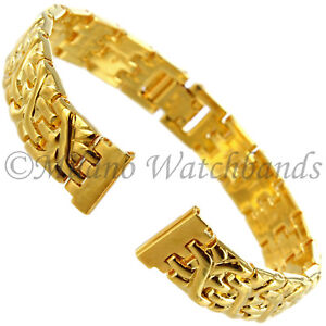 12mm-Speidel-Gold-Design-Stainless-Steel-Fold-Over-Clasp-Ladies-Watch-Band