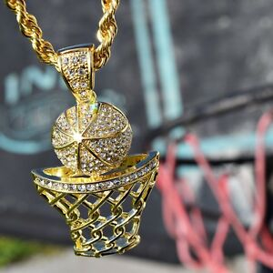Basketball pendant chain 30 iced out basket ball hoop gold finish image is loading basketball pendant chain 30 034 iced out basket mozeypictures Images