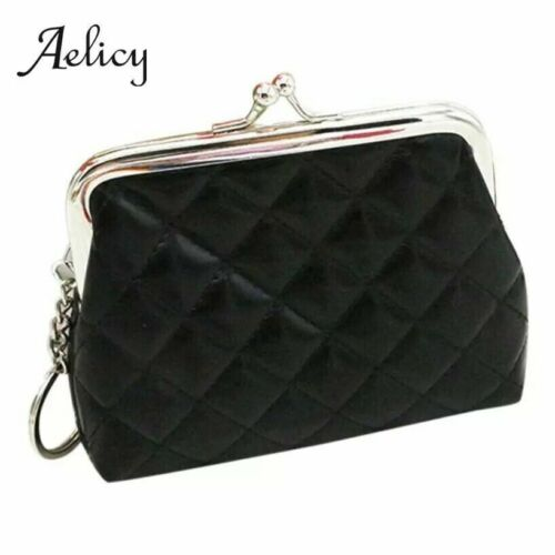 Black Quilted Faux Leather Small Coin Purse Clasp Fastening