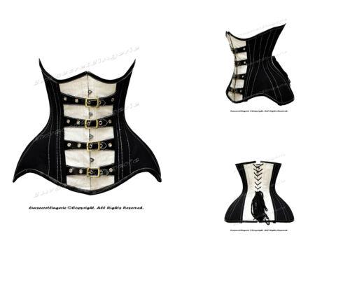 26 Double Steel Boned Waist Training Brocade /& Cotton Underbust Shaper Corset