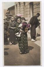 OLD PHOTO COLORED COLORISÉE Japon Japan Vers 1920 1930 Femme Enfant Rehaussée