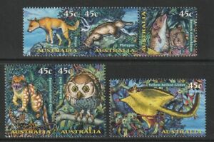 Australia-1997-Creatures-of-the-Night-Set-of-5-x-45c-Decimal-Stamps-MNH